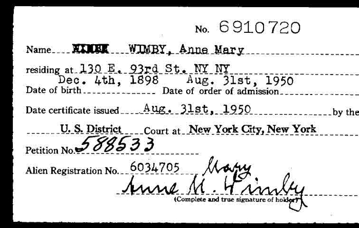 Anne Marie Wimby naturalization