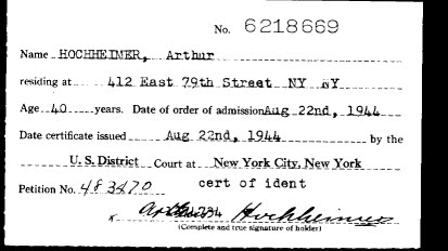 Petition for Naturalization of Arthur Hochheimer